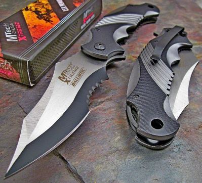 Mtech Extreme Ballistic Black Grey Pocket Knife