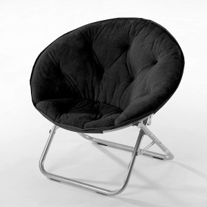 Urban Shop Faux Fur Saucer Chair with Metal Frame
