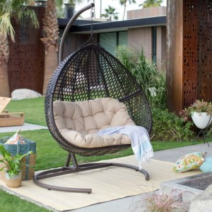 Resin Wicker Hanging Egg Loveseat Swing Chair