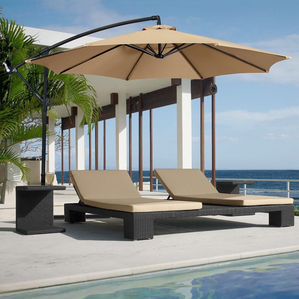 Cantilever umbrella by the pool.