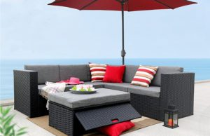 Baner Garden (K35) 4 Pieces Outdoor Furniture Complete Patio Cushion Wicker Rattan Garden Corner Sofa Couch Set