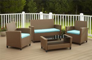Cosco Products 4 Piece Malmo Resin Wicker patio Set - Brown with Teal Cushions