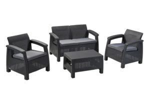 Keter Corfu 4 Piece Set All Weather Outdoor Patio Garden Furniture w/ Cushions, Charcoal