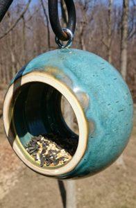 Purple Heather Pottery Handmade Ceramic Bird Feeder