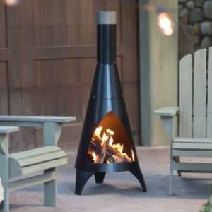 Chiminea by Red Ember Alto with Robust Steel Construction, Deep Black Finish