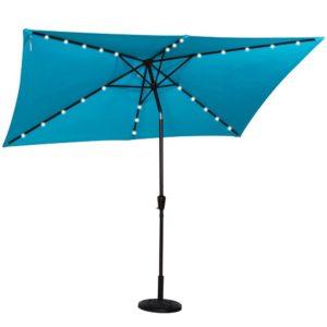 Sundale Outdoor Rectangular Solar Powered 26 LED Lighted Outdoor Patio Umbrella with Crank and Tilt, Aluminum, 10 by 6.5-Feet (Blue)