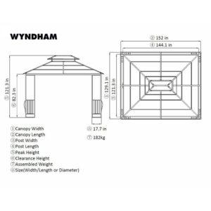 Sunjoy 10 x 12 Steel Hardtop Wyndham Patio Gazebo Dimensions