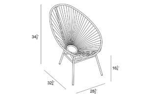 Harmonia Living Acapulco Lounge Chair Dimensions