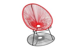 Harmonia Living HL-ACA-LC-CAB Acapulco Lounge Chair, Candy Apple Red and Black
