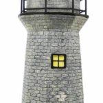 Solar Lighthouse Garden Figurine Light, Gray Color