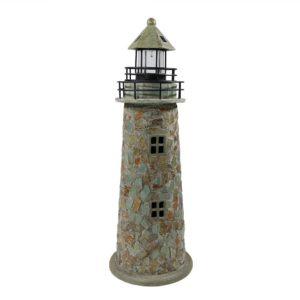 Sunnydaze Cobblestone Solar LED Lighthouse, 35 Inch Tall