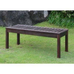 Delahey Weather Resistant Backless Outdoor Garden Bench, Galvanized Steel Hardware, Teak Oil Finish, Dark Brown