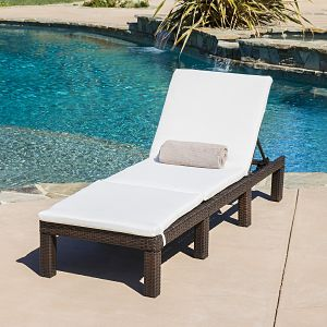 Estrella Outdoor Multibrown Wicker Adjustable Chaise Lounge Chair with Cushion