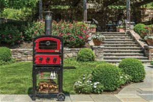 Alfresco Home 82-PZ-5WT-SRSS Fornetto Wood Fired Oven and Smoker, Red