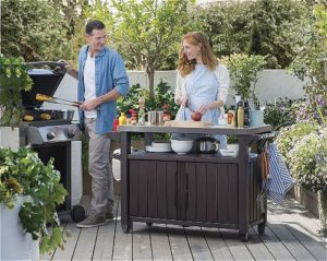 Keter Unity XL Indoor Outdoor Entertainment BBQ Storage Table Prep Station Serving Cart with Metal Top