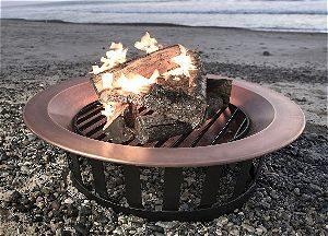 Titan 40in Copper Fire Pit Bowl on the Beach