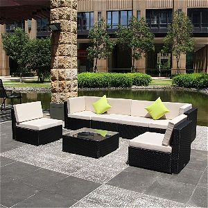 U-max 7 Piece Patio PE Rattan Wicker Sofa Sectional Furniture