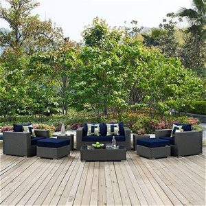 Modway Sojourn 8 Piece Outdoor Patio Sunbrella Sectional Set, Canvas Navy