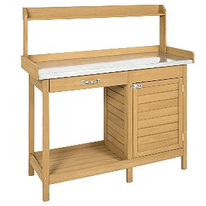 Best Choice Products Outdoor Garden Wooden Potting Bench Work Station with Metal Tabletop