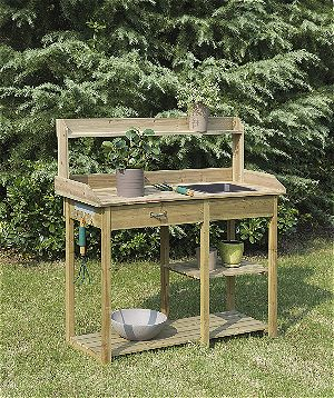 Convenience Concepts Deluxe Potting Bench, Fir finish