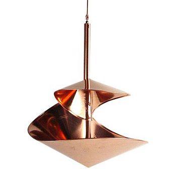 Modern Artisans Copper Spiral Hanging Modern Bird bath