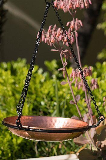 Monarch Abode 17065 Hanging Copper Hammered Bird Bath