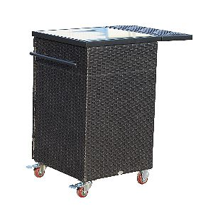 Outsunny 35in Rolling Rattan Wicker Outdoor Kitchen Trolley Cart