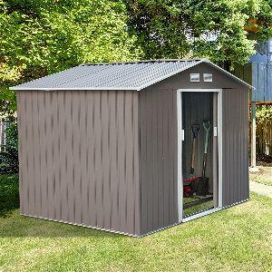 Outsunny 9' x 6' Outdoor Backyard Metal Garden Utility Storage Shed