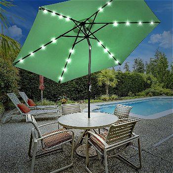 Sorbus LED Outdoor Umbrella, 10 ft Patio Umbrella LED Solar Power