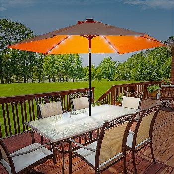 Sorbus Solar Lighted Umbrella, 10 ft