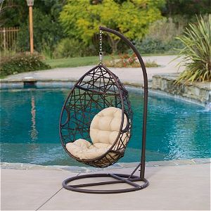 Christopher Knight Outdoor Brown Wicker Tear Drop Hanging Chair