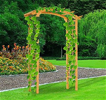 Outsunny 84in Wooden Garden Arbor Arch Trellis (Rounded Version)