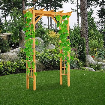 Outsunny 84in Wooden Garden Arbor Arch Trellis (Squared)
