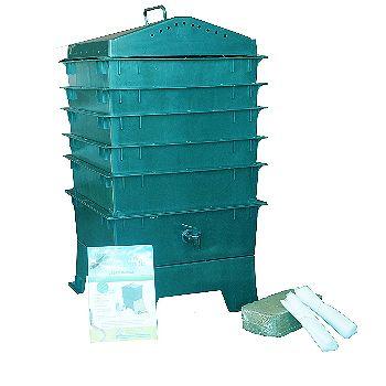 VermiHut 5-Tray Worm Compost Bin- Dark Green