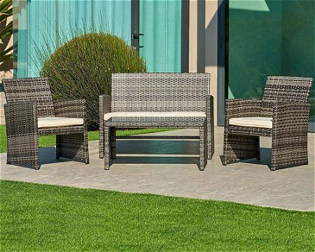 Suncrown Outdoor Furniture Grey Wicker Conversation Set with Glass Top Table (4-Piece Set)