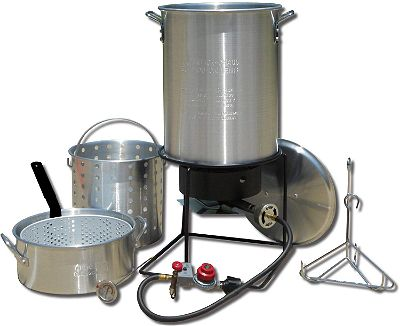 King Kooker 1265BF3 Portable Propane Outdoor Deep Frying and Boiling Package with 2 Aluminum Pots