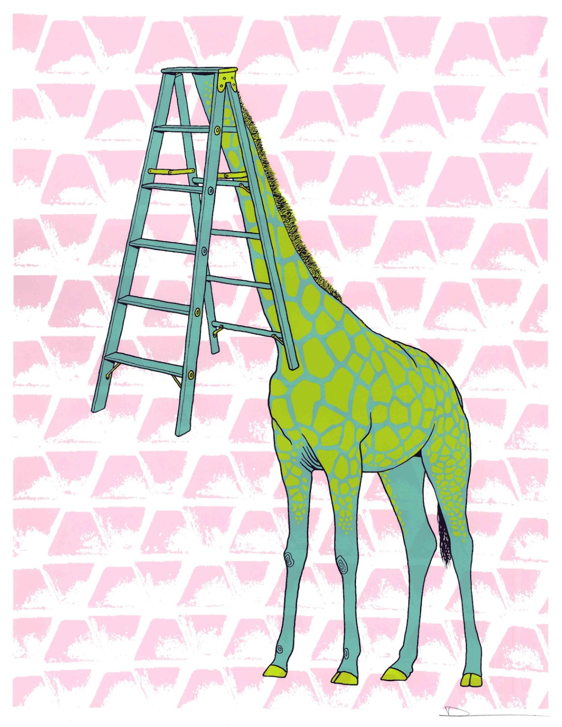 "Title Giraffe Ladder Face Medium Screenprinted by hand Size 11""x14"""