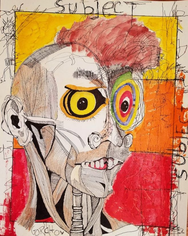Title 'subject [defaced]' Medium acrylic, water color, pencil, ink on canvasette paper Size 16 x 20 inches
