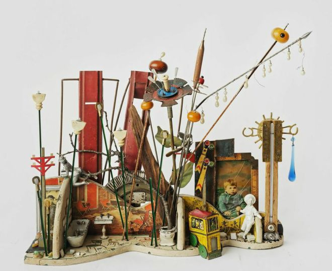 """Title My Life as a Boy Medium assemblage/collage Size 16"""" x 18"""" x 5"""""""