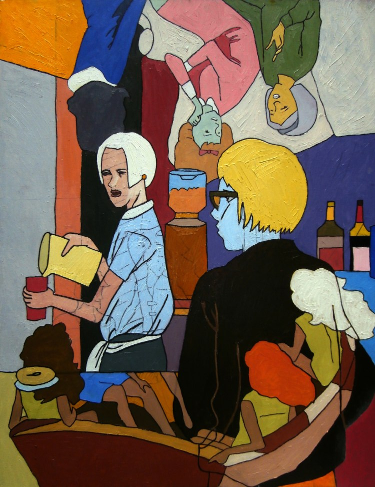 Some lady left without her bagel. Do you want it? Medium oil on canvas Size 70cmx80cm