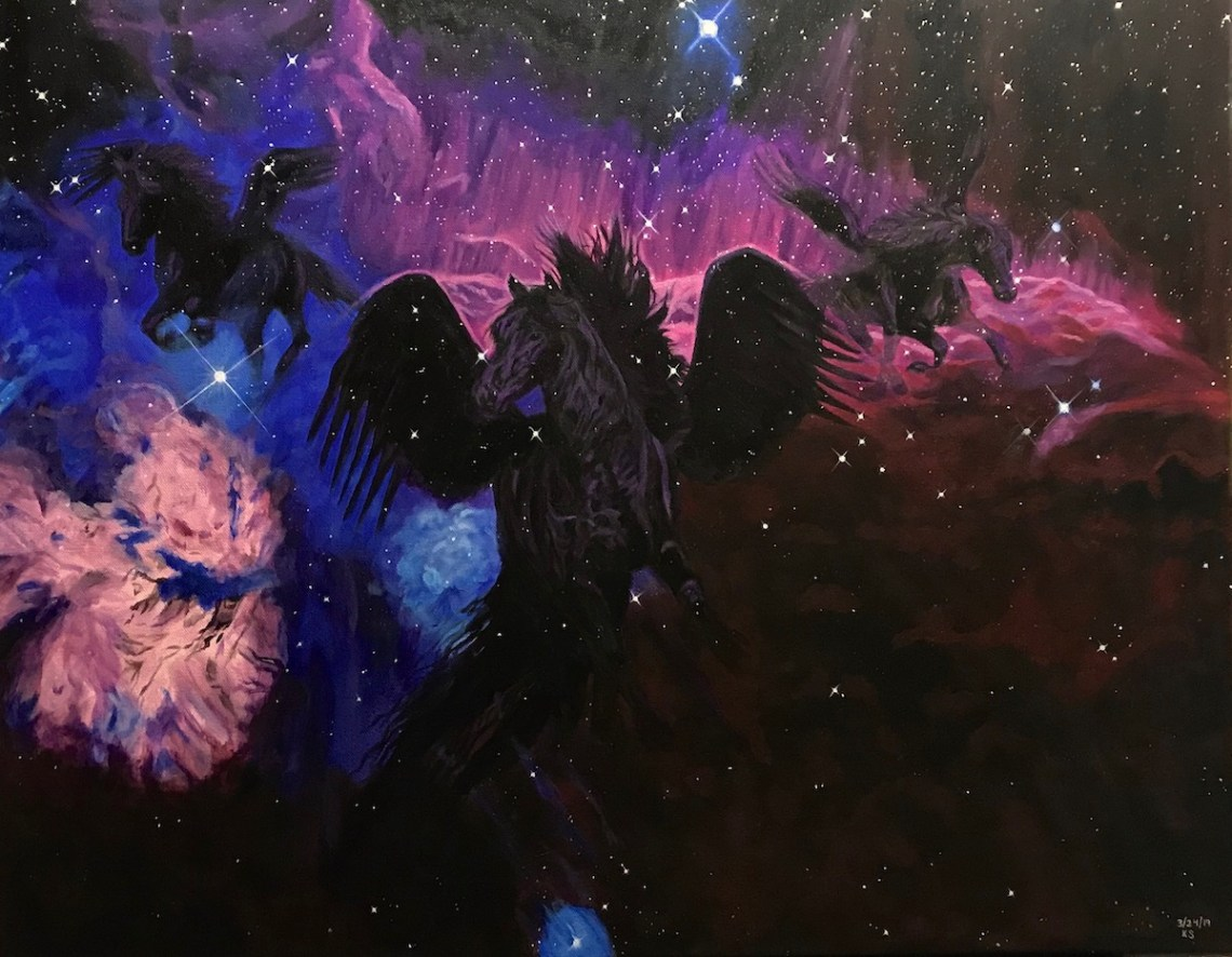 The Dream Of A Nebula Coming To Life Medium Acrylic on Canvas Size 22x28""