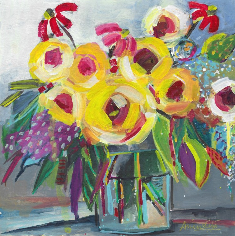 Spring flora Medium Acrylic on paper Size 8x8 inches