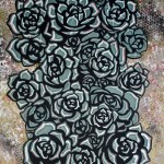 Rosettes Medium Oil on Wood board Size 26 in X 17 in
