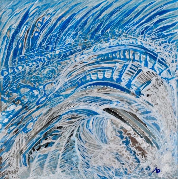 Wind and Waves Medium Acrylic on Canvas Size 12 in X 12 in