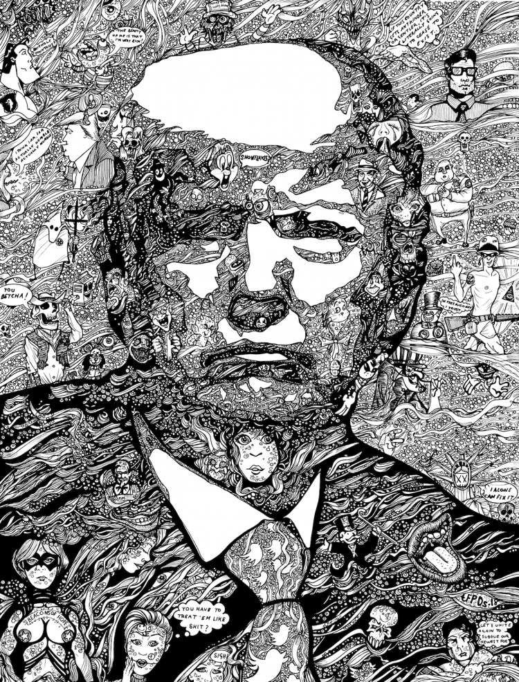 "Stable Genius Medium Ink on board Size 24"" x 28"""