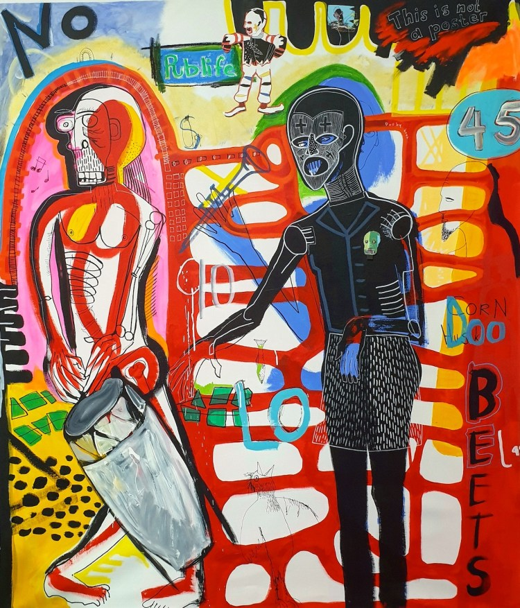 """Old-school entertainment "" Medium Acrylic, pastel, collage Size 143cm x 123vm"