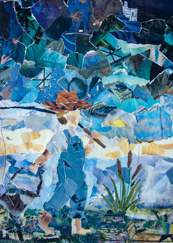 Gone Fishing Medium Mosaic Torn Magazine and Epoxy Glaze Size 18x24