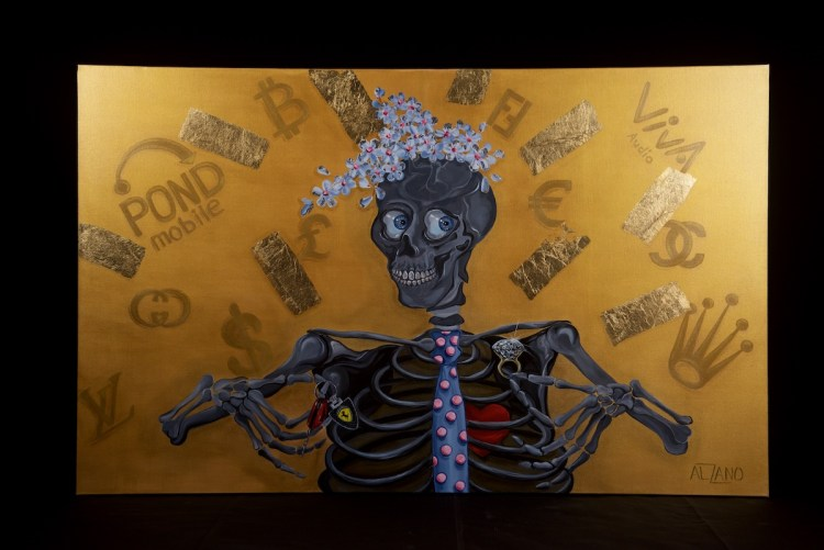 "Debacle | acrylic on canvas, gold leaf | 48""/30"""