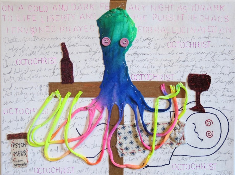 "Octochrist pencil, text, marker, psychiatric hospital gown, fabric, buttons (hand sewn) on canvas 12"" x 16"""
