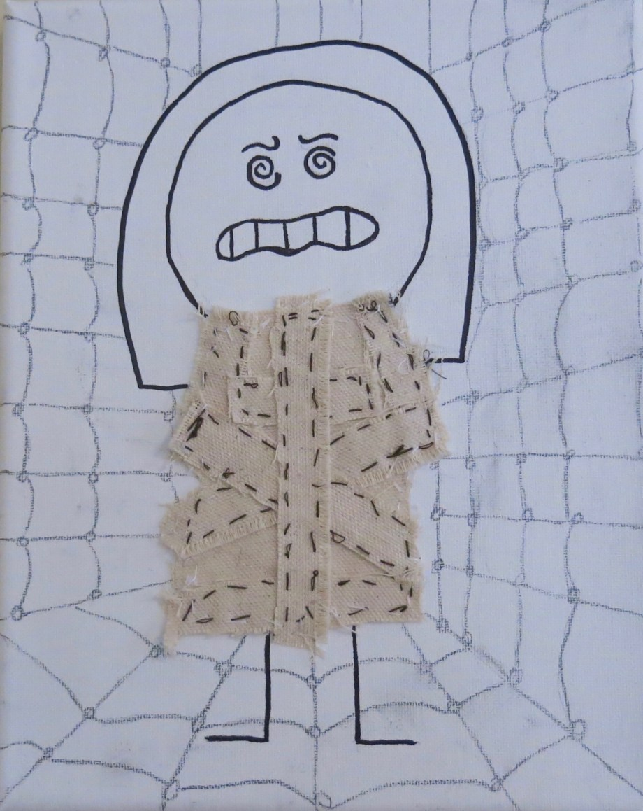 """Girl In A Straitjacket pencil, marker, fabric on canvas (hand sewn) 8"""" x 10"""""""
